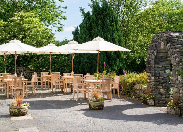 One of the outdoor beer garden areas