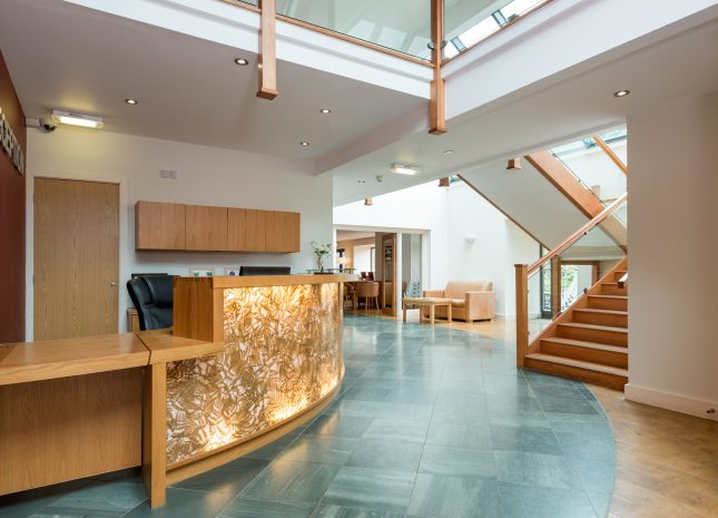 The lodge is bright and modern